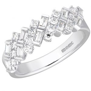 Earth Star Diamonds FR012340 Baguette and Round Brilliant Cut Diamonds Half Eternity Wedding Ring in White Gold