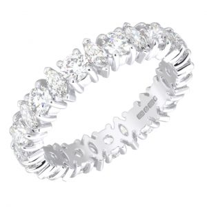 Earth Star Diamonds FR01326 Claw Set Round & Marquise Cut Full Eternity Wedding Ring in White Gold