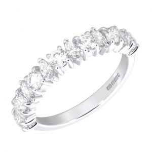 Earth Star Diamonds FR0132650 Claw Set Round & Marquise Cut Half Eternity Wedding Ring in White Gold