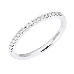 Earth Star Diamonds Claw Set Round Brilliant Cut Diamonds Half Eternity Wedding Ring in White Gold