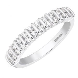 Earth Star Diamonds FR01411340 Bar Set Round Brilliant Cut Diamonds Half Eternity Wedding Ring in White Gold