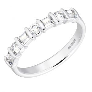 Earth Star Diamonds FR051740 Baguette and Round Brilliant Cut Diamonds Half Eternity Wedding Ring in White Gold