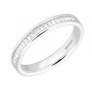 Earth Star Diamonds FR05182540 Channel Set Baguette Cut Diamonds Half Eternity Wedding Ring in White Gold