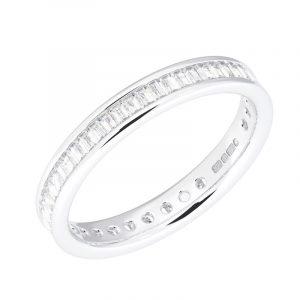 Earth Star Diamonds FR051830 Channel Set Baguette Cut Diamonds Full Eternity Wedding Ring in White Gold