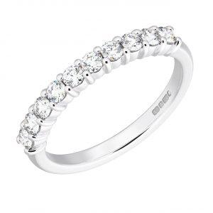 Earth Star Diamonds FR052940 Round Brilliant Cut Diamonds Half Eternity Wedding Ring in White Gold