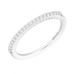 Earth Star Diamonds FR05431240 Round Brilliant Cut Diamond Half Eternity Wedding Ring in White Gold