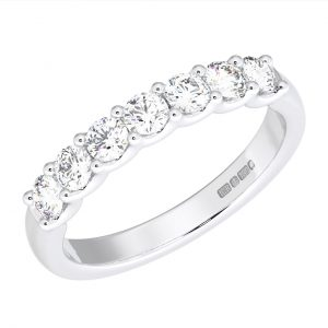 Earth Star Diamonds FR062440 Scalloped Set Round Brilliant Cut Half Eternity Wedding Ring in White Gold