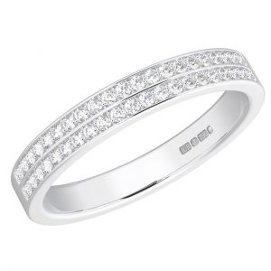 Earth Star Diamonds FR064240 Pave Set Round Brilliant Cut Diamonds Half Eternity Wedding Ring in White Gold