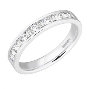 Earth Star Diamonds FR098940 Channel Set Round & Baguette Cut Diamonds Half Eternity Wedding Ring in White Gold