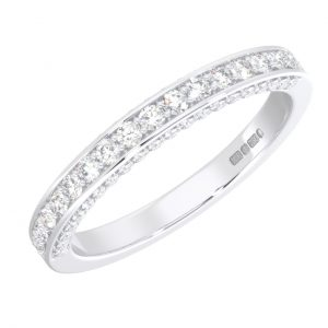 Earth Star Diamonds FR099040 Pave Set Round Brilliant Cut Diamonds Half Eternity Wedding Ring in White Gold