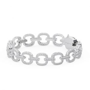 Earth Star Diamonds FTB157 Pave Set Round Diamonds Bracelet in White Gold