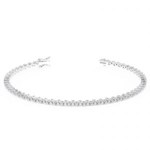 Earth Star Diamonds BRS00613 Claw Set Round Brilliant Cut Diamonds Tennis Bracelet in White Gold