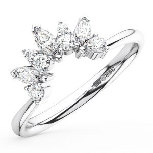 Earth Star Diamonds FR01376 Claw Set Round & Marquise Cut Diamonds Engagement Ring in White Gold