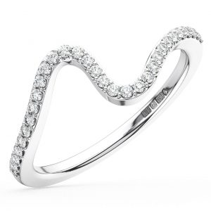 Earth Star Diamonds FR01389 Round Brilliant Cut Diamond Curve Wave Design Half Eternity Wedding Ring in White Gold