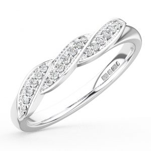 Earth Star Diamonds Round Pave Brilliant Diamond Curve Wave Design Half Eternity Wedding Ring in White Gold
