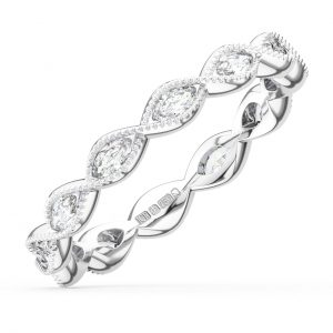 Earth Star Diamonds Bezel Set Marquise Cut Diamonds Half Eternity Wedding in White Gold