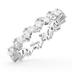 Earth Star Diamonds Claw Set Marquise & Round Brilliant Cut Diamonds Full Eternity Wedding Ring in White Gold