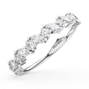 Earth Star Diamonds Claw Set Marquise & Round Brilliant Cut Diamonds Half Eternity Wedding Ring in White Gold