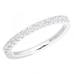 Earth Star Diamonds Claw Set Round Brilliant Cut Half Eternity Wedding Ring in White Gold