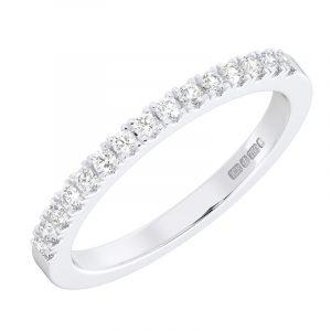 earth Star Diamonds Fishtail Set Round Brilliant Cut Diamonds Half Eternity Wedding Ring in White Gold