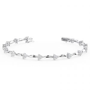 Earth Star Diamonds FTB0154 Claw Set Round Brilliant Cut Diamonds Tennis Bracelet in White Gold