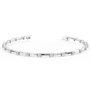 Earth Star Diamonds FTB0155 Claw Set Round Brilliant Cut Diamonds Tennis Bracelet in White Gold