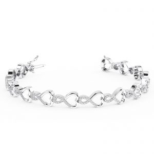 Earth Star Diamonds FTB0156 Prong Set Round Brilliant Cut Diamonds Tennis Bracelet in White Gold