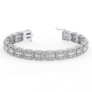 Earth Star Diamonds Prong Set Round & Baguette Cut Diamonds Tennis Bracelet in White Gold