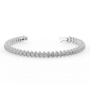 Earth Star Diamonds Claw & Bezel Set Round Brilliant Cut Diamonds Tennis Bracelet in White Gold