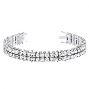 Earth Star Diamonds Claw & Bezel Set Round Brilliant Cut Diamonds Double Row Tennis Bracelet in White Gold