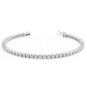 Earth Star Diamonds Bezel Set Round Brilliant Cut Diamonds Tennis Bracelet in White Gold