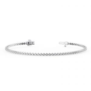 Earth Star Diamonds TB014313 Bezel Set Round Brilliant Cut Diamonds Tennis Bracelet in White Gold
