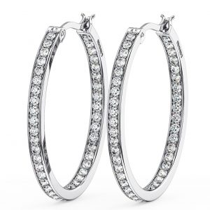 Earth Star Diamonds Round Brilliant Cut Diamonds Hoop Earring in White Gold