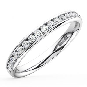 Earth Star Diamonds FR014122540 Channel Set Round Brilliant Cut Diamonds Half Eternity Wedding Ring in White Gold