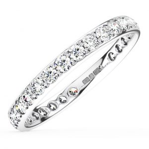 Earth Star Diamonds Bead Set Round Brilliant Cut Diamonds Half Eternity Wedding Ring in White Gold