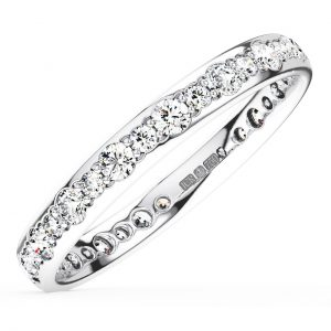 Earth Star Diamonds Pave Set Round Brilliant Cut Diamonds Half Eternity Wedding Ring in White Gold