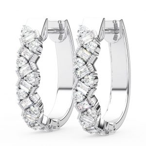 Earth Star Diamonds Round & Baguette Cut Diamonds Earring in White Gold
