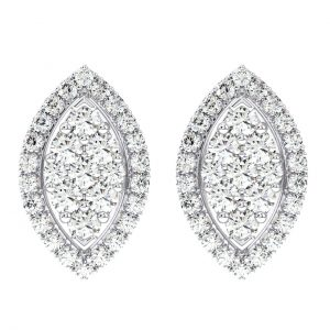 Earth Star Diamonds Pave Set Round Brilliant Cut Diamonds Marquise Shape Stud Earring White Gold