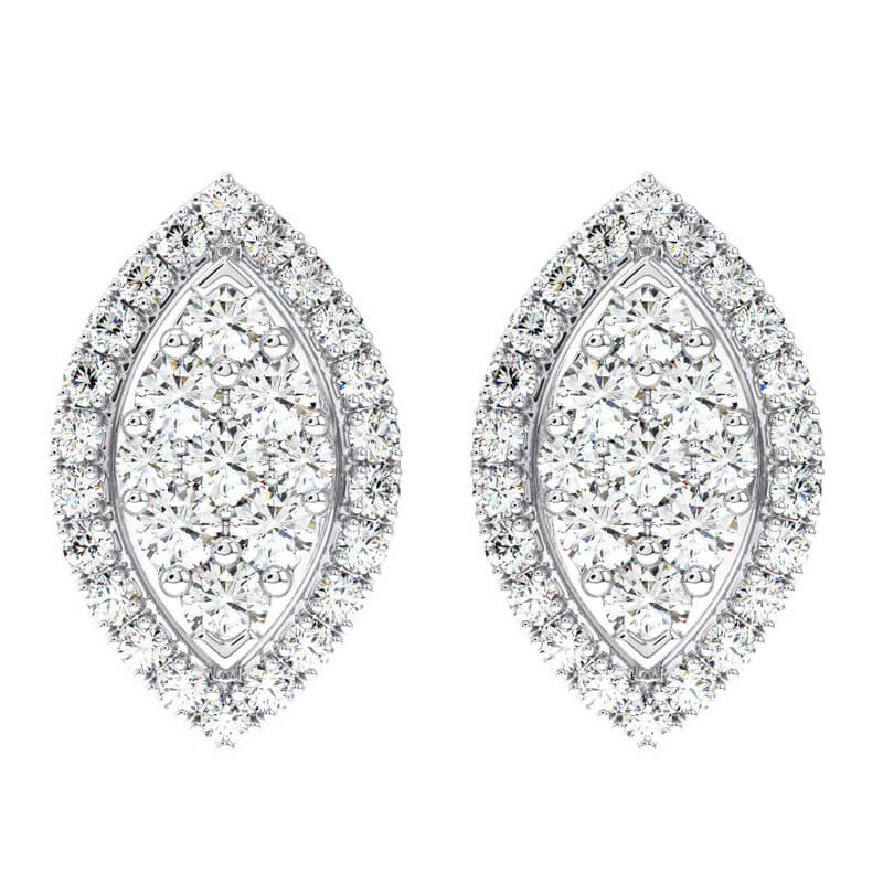 076d7578b Details about 0.76CT Pave Set Round Diamond Stud Earrings Available in  Platinum