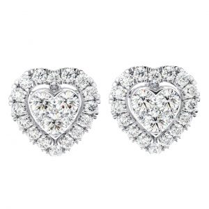 Earth Star Diamonds Hart Shaped Round Brilliant Cut Diamonds Stud Earring in White Gold