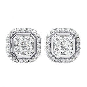 Earth Star Diamonds FE0985 Round Brilliant Cut Diamonds Stud Earring in White Gold