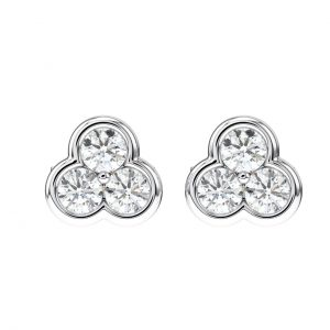 Earth Star Diamonds Bezel Set Round Brilliant Cut Diamonds Stud Earring in White Gold