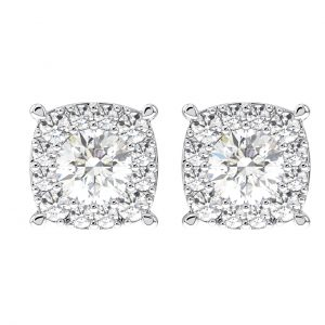 Earth Star Diamonds Round Brilliant Cut Diamonds Halo Stud Earring in White Gold