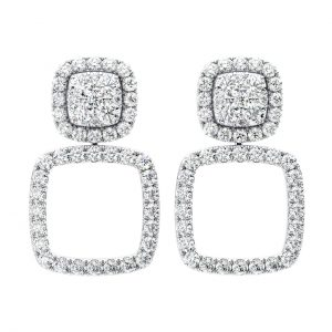 Earth Star Diamonds Round Brilliant Cut Diamonds Drop Earring in White Gold