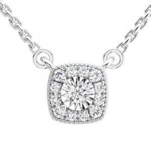 Earth Star Diamonds Round Brilliant Cut Diamonds Solitaire Pendant in White Gold