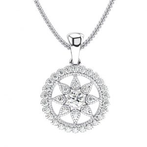 Earth Star Diamonds Round Brilliant Cut Diamonds Solitaire Pendant in White Gold