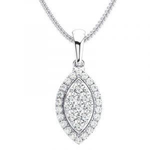 Earth Star Diamonds Round Brilliant Cut Diamonds Pendant in White Gold