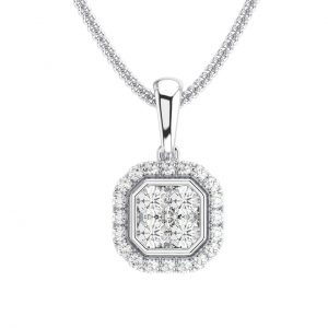 Earth Star Diamonds Round Brilliant Cut Diamonds Pendant in White Gold