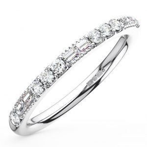 Earth Star Diamonds Round & Baguette Cut Diamonds Half Eternity Wedding Ring in White Gold