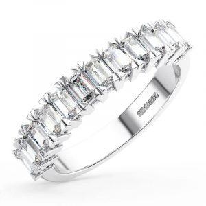 Earth Star Diamonds Baguette Cut Diamonds Half Eternity Wedding Ring in White Gold